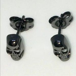 New 14k Black Gold on 925 Silver Stud Earrings
